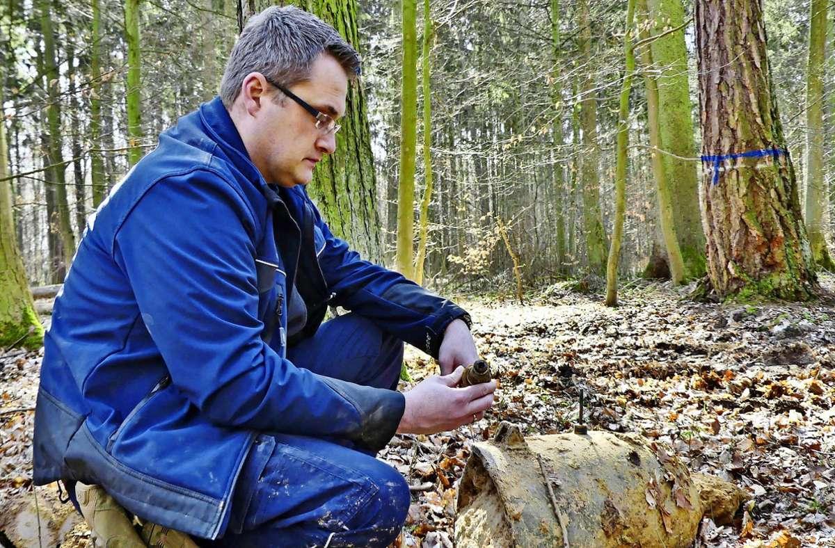 Die Bomben waren kürzlich im Seewald entdeckt worden. Foto: 7aktuell.de/Kevin Lermer