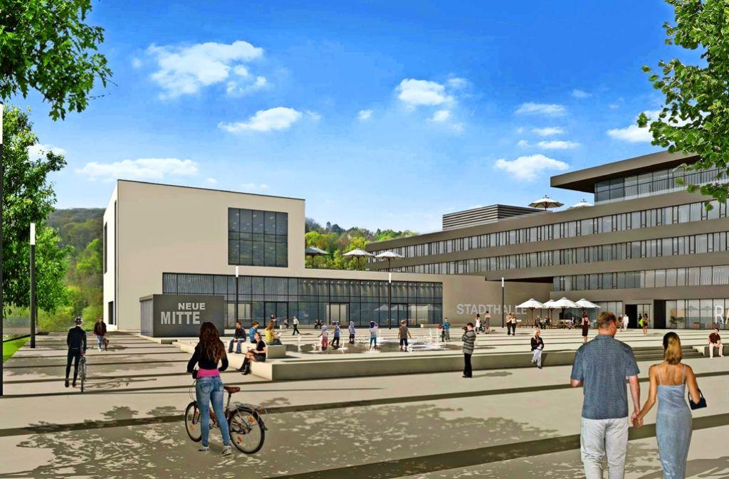 Die Neue Mitte in Remseck: Mit Rathaus (rechts), Stadthalle (Mitte) und einem dritten  Bauteil (links), das bisher eine Mediathek werden sollte. Foto: Stadt Remseck
