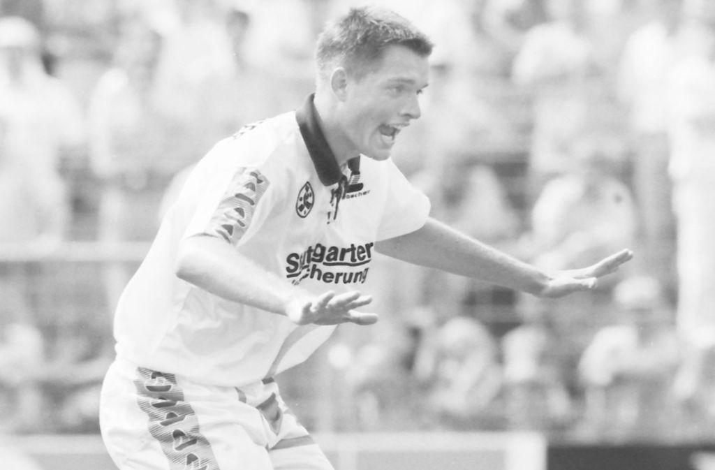 Thomas Tuchel im Dress der Stuttgarter Kickers, für die er von 1992 bis 1994 spielte. Foto: Baumann