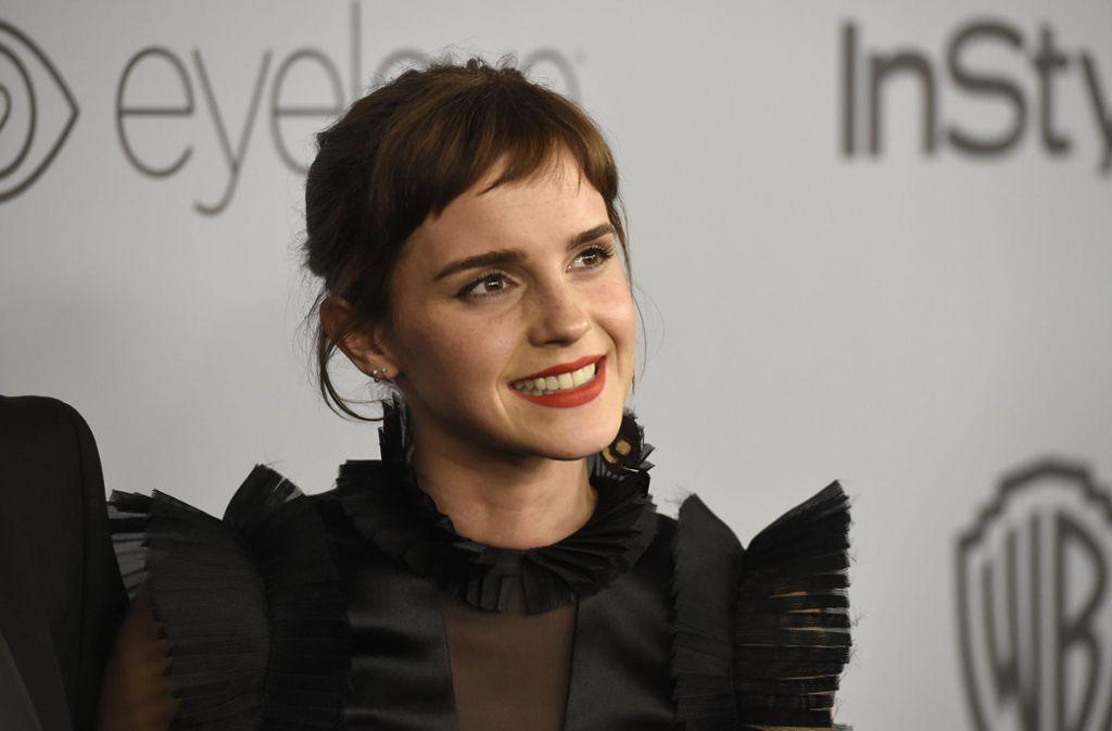 Schauspielerin Emma Watson erschien in einem tiefschwarzen Abendkleid zu den Golden Globes – um gegen sexuelle Gewalt in der Filmbranche und im Alltag zu protestieren Foto: Invision
