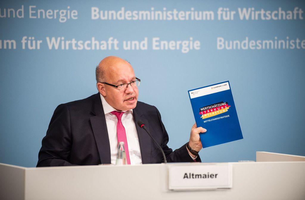 Peter Altmaier (CDU) will verstärkt als Mittelstands-Minister wahrgenommen werden. In einem Strategie-Papier sind seine Ideen zusammengefasst. Foto: dpa/Arne Immanuel Bänsch