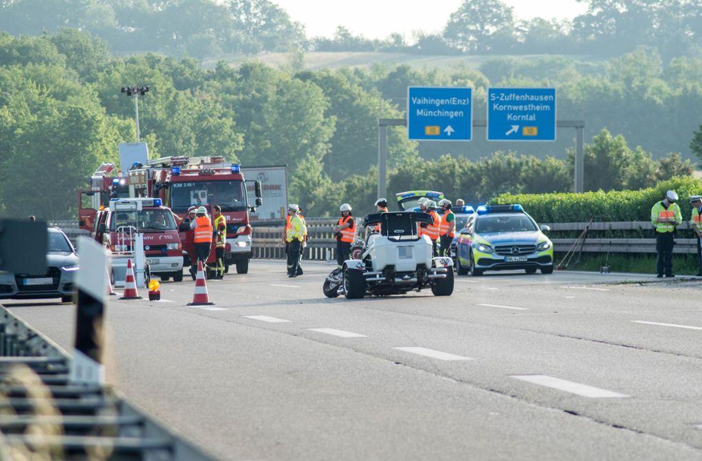 Auf der A81 hat sich ein schwerer Unfall mit einem Trike, einem dreirädrigen Motorrad, ereignet. Foto: 7aktuell.de/Nils Reeh