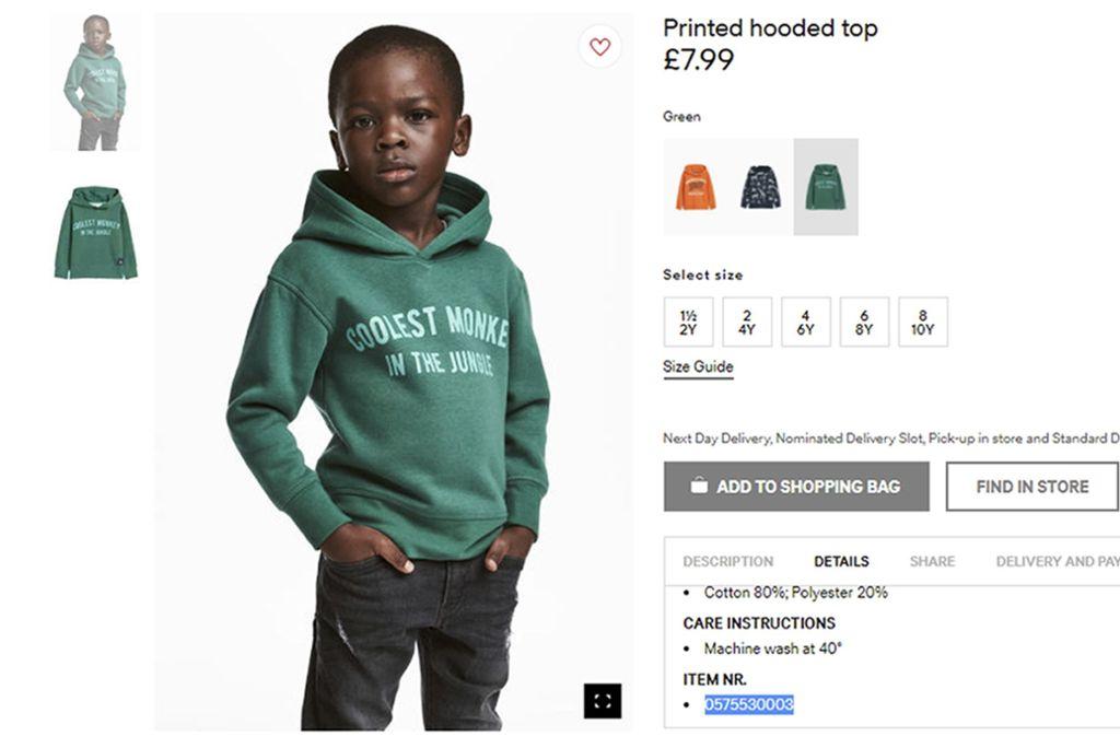 H&M  hat sich inzwischen entschuldigt und den Pullover aus dem Programm genommen. Foto: H&M/AP