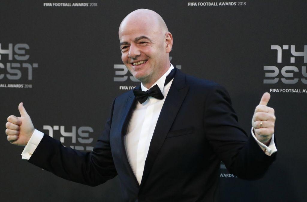 Wie sein Vorgänger Sepp Blatter ist auch Fifa-Präsident Gianni Infantino kein Kind von Traurigkeit. Foto: AP