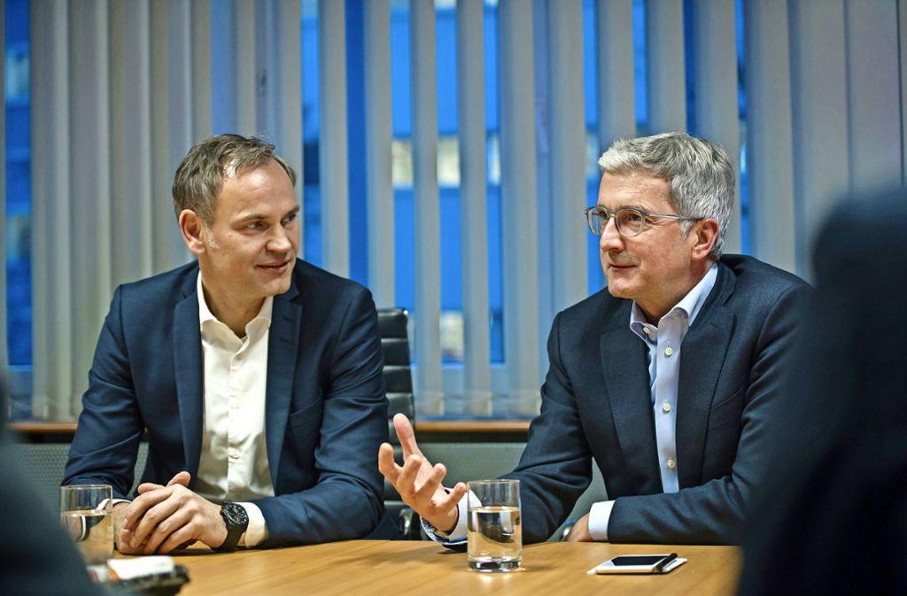 """""""Der Olli ist eigentlich ein richtiger Audianer"""",  sagt Audi-Chef Rupert Stadler (rechts) über Porsche-Lenker Oliver Blume. Foto: Lichtgut/Max Kovalenko"""