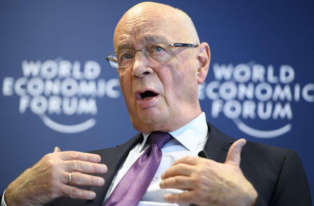 """Klaus Schwab, der Präsident des Forums, will bei dem Treffen in Davos eine """"gemeinsame Basis"""" mit US-Präsident Donald Trump finden. Foto: dpa"""