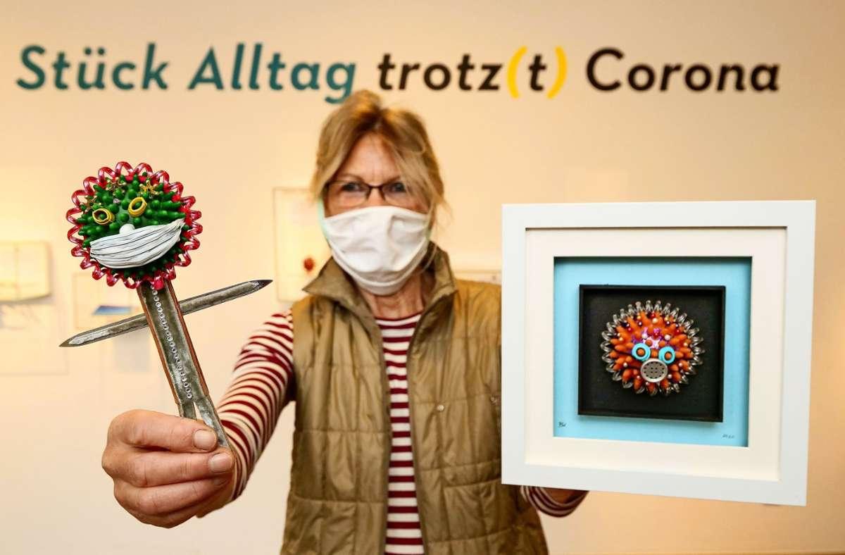 Beatrix Köhnlein hat während des Lockdowns ihre Kreativität neu entdeckt: Herausgekommen sind Corona-Damen. Foto: