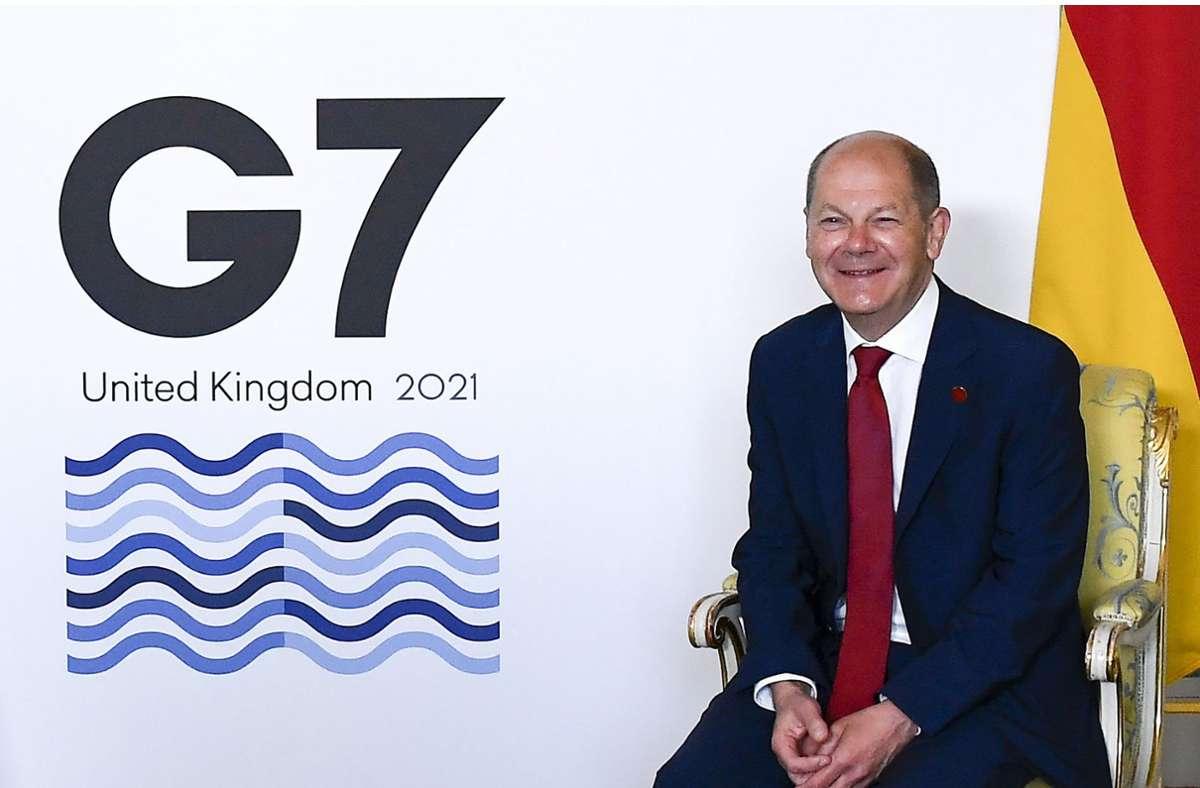 Sichtlich zufrieden mit dem in London Erreichten: der deutsche Finanzminister Olaf Scholz, der  sich seit Jahren für eine globale Mindeststeuer eingesetzt hat. Foto: dpa/Alberto Pezzali