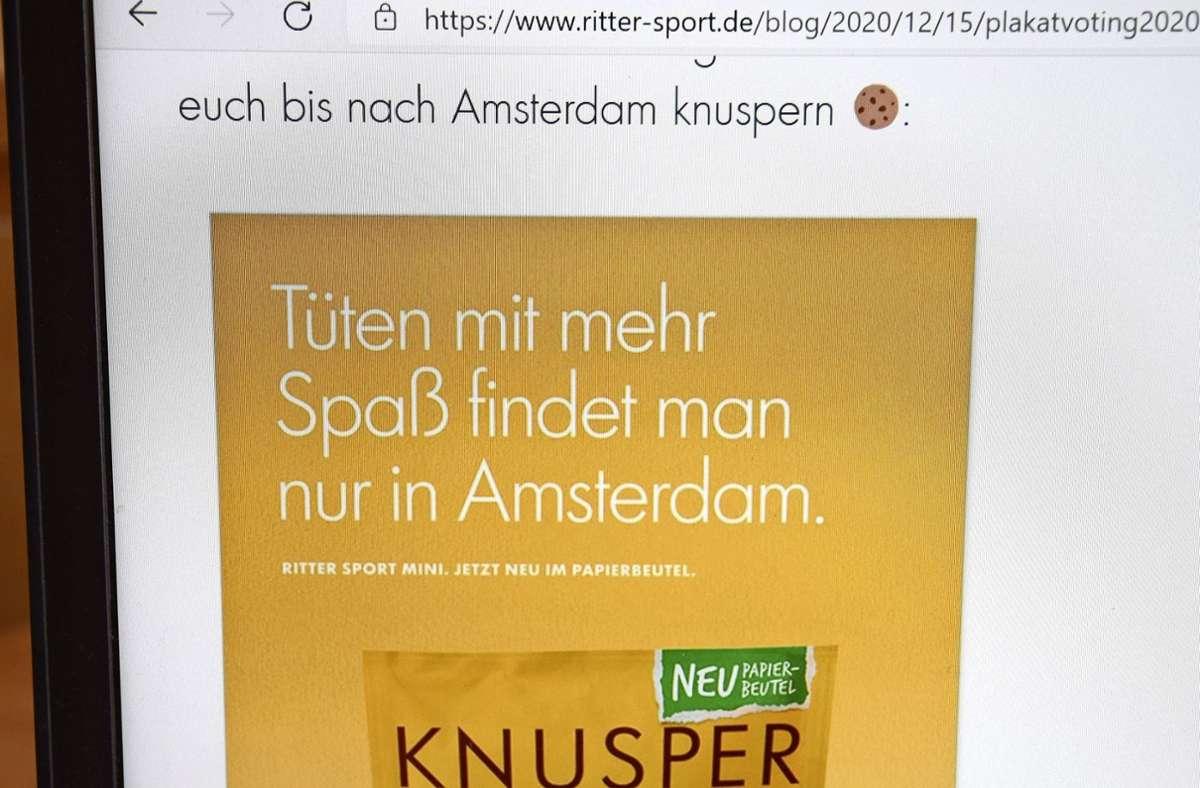 Ritter-Sport-Fans konnten im Internet über die neuen Plakatmotive abstimmen. Gut einem Drittel gefiel dieses Motiv. Foto: Kratz