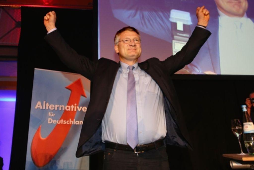 """Bestens gelaunt: der AfD-Spitzenkandidat Jörg Meuthen feiert den Einzug in den Landtag: """"Niemand, der nicht dabei war, weiß, wie schwer dieser Weg war."""" Foto: Getty"""