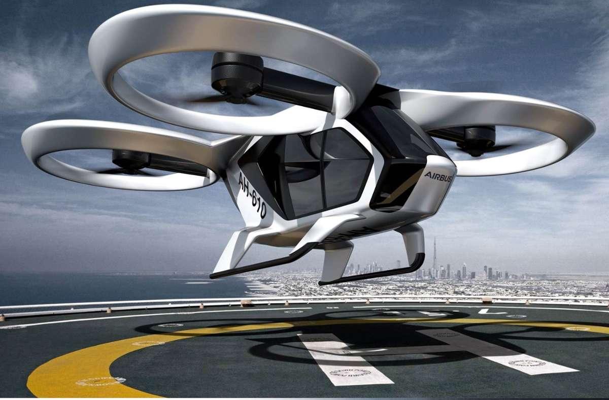 Das Airbus-Lufttaxi mutet futuristisch an. (Archivbild) Foto: dpa
