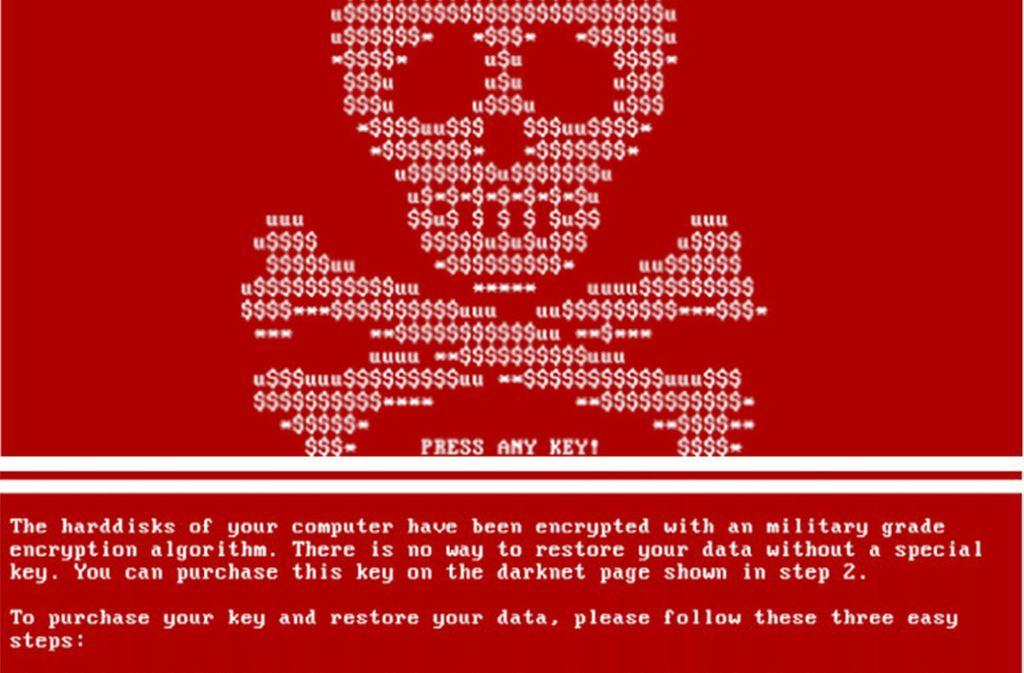 """Die Erpressungs-Software """"Petya"""" verschlüsselte 2017 die Daten vieler Computer und forderte für die Entschlüsselung Lösegeld. Diese so genannten Ransomware-Attacken zählen derzeit zu den größten Bedrohungen im Internet. Foto: dpa"""