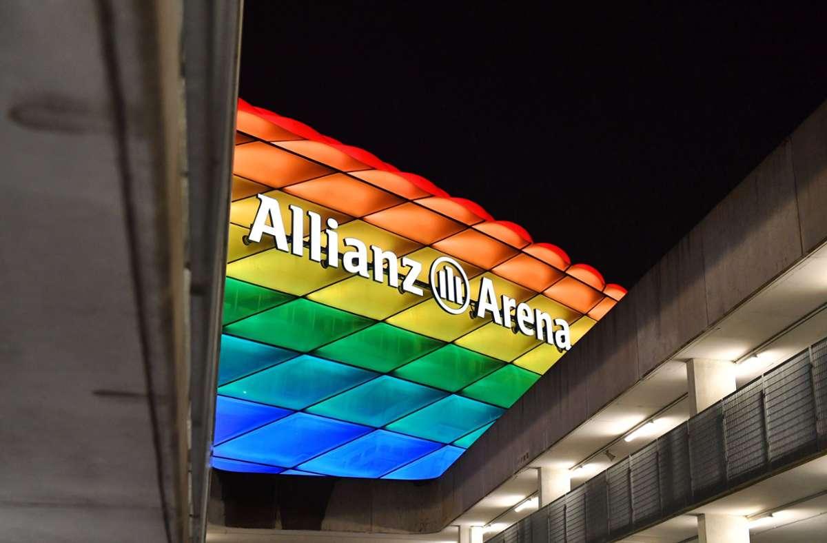 Die Entscheidung der Uefa zur Allianz-Arena in Regenbogenfarben wird heftig diskutiert. Foto: imago images/Sven Simon/Frank Hoermann