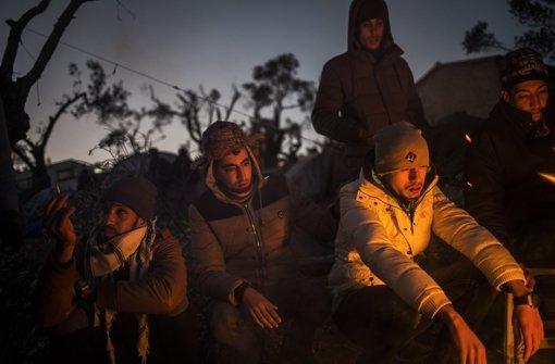 Flüchtlinge aus Nordafrika auf Lesbos. Foto: dpa