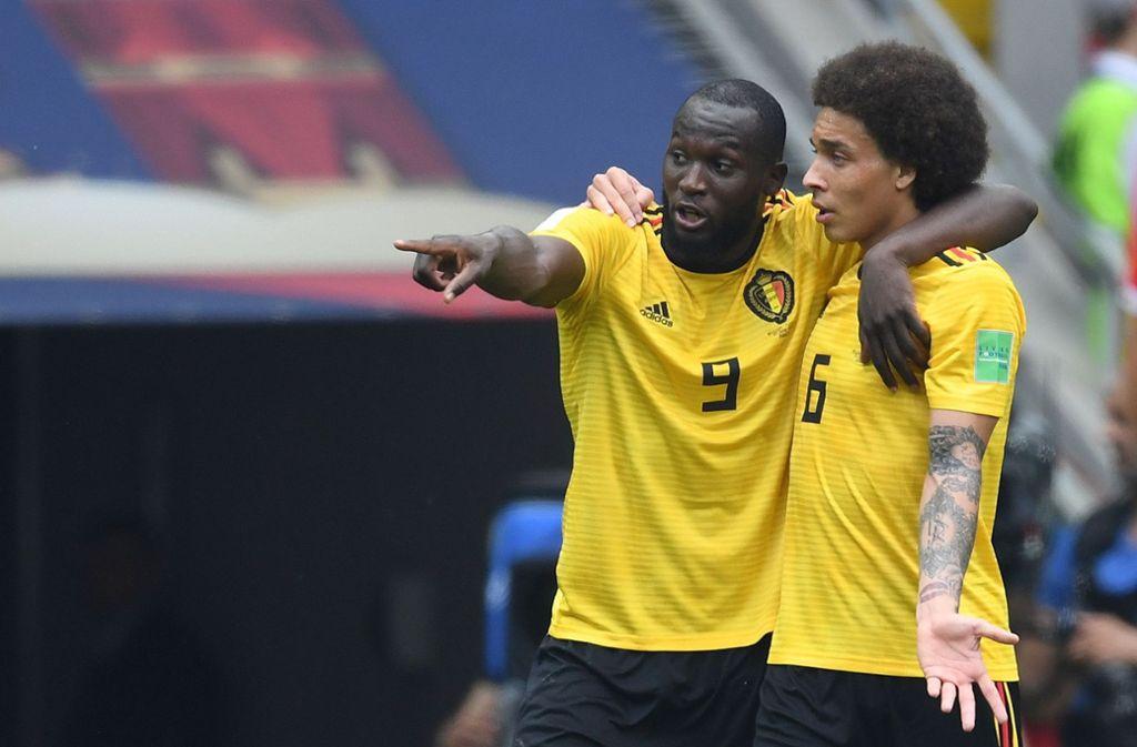 Romelu Lukaku (links) will mit Belgien bei der WM 2018 den Gruppensieg holen. Foto: AFP