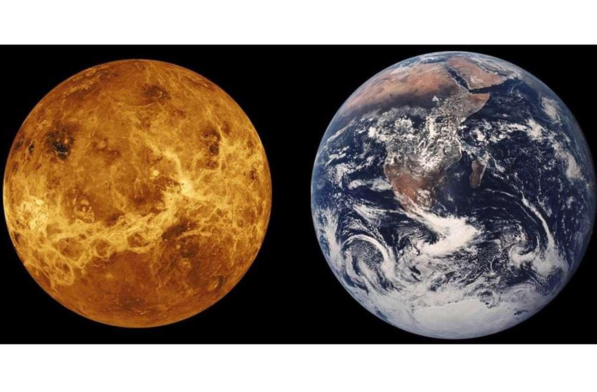 Größenvergleich von Erde und Venus Foto: Wikipedia commons