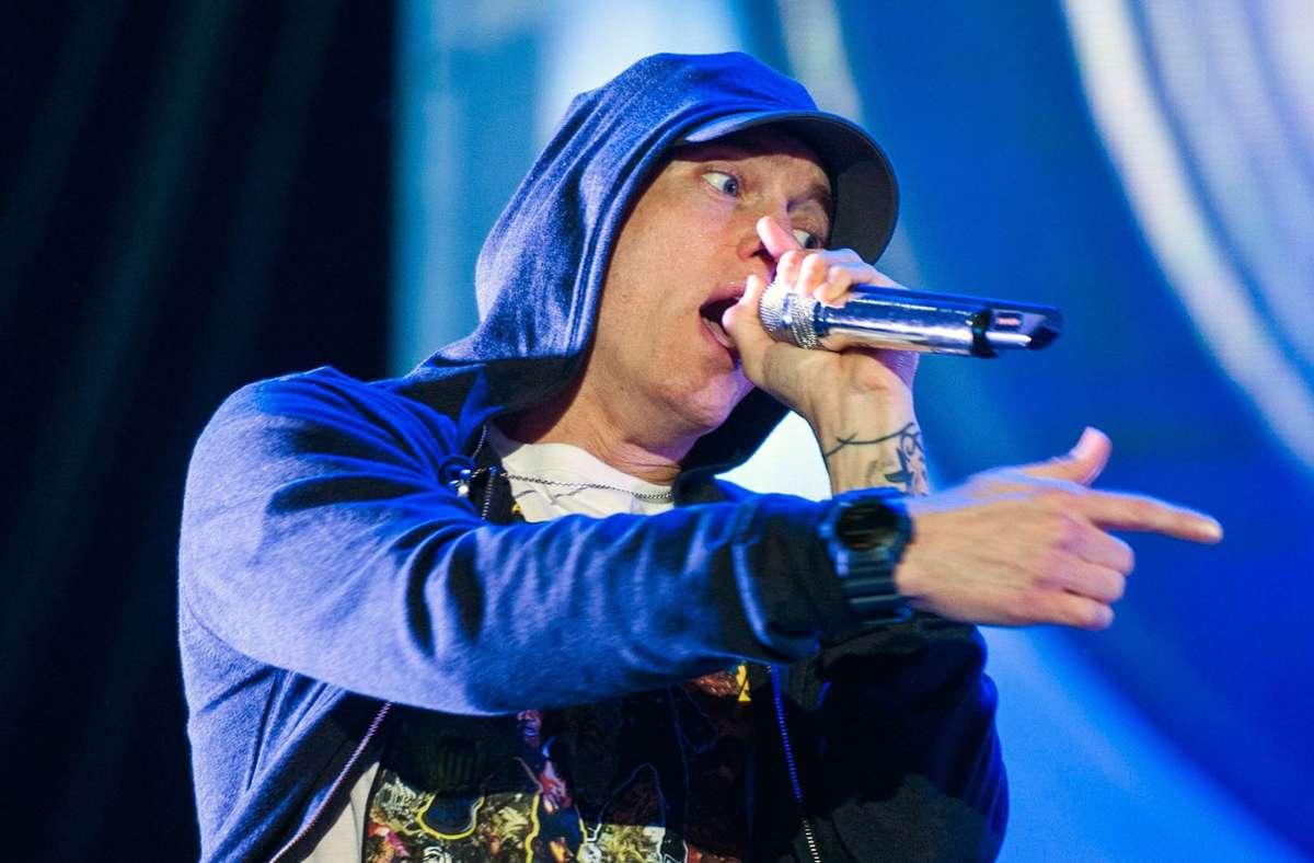 """2019 war der zehn Jahre alte, unveröffentlichte Song """"Things Get Worse"""" durchgesickert, in dem Eminem eine Prügelattacke von Rihannas Ex-Freund Chris Brown verteidigt (Archivbild). Foto: dpa/Ashley Landis"""
