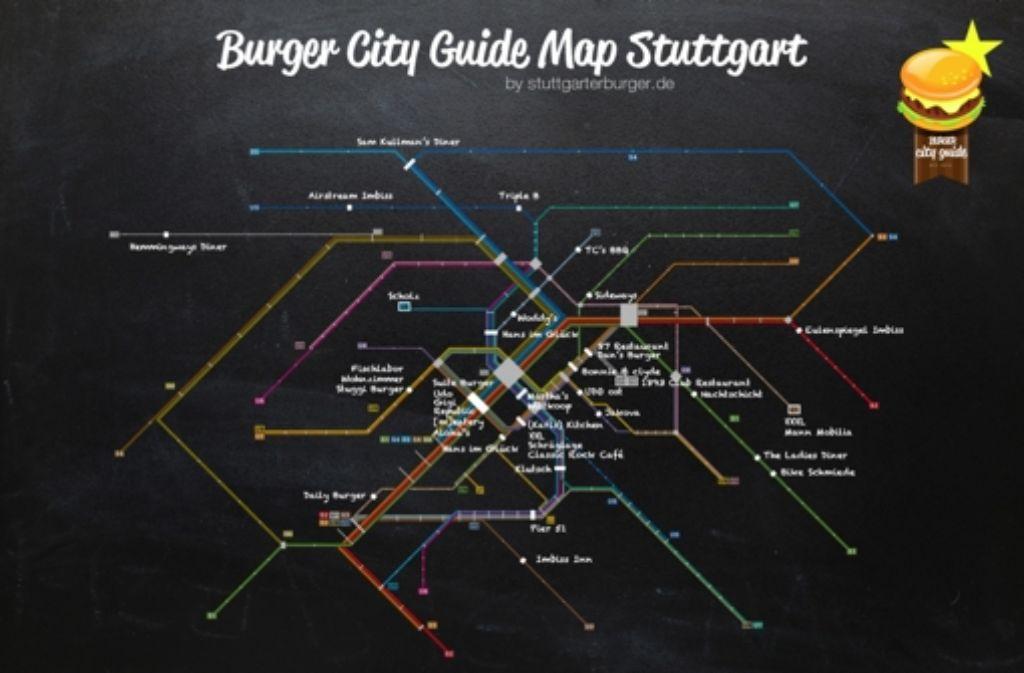 Burgerläden in Stuttgart auf der Übersichtskarte von Burger City Guide, getestet werden sie auf der neuen  Internetseite www.stuttgarterburger.de Foto: Burger City Guide