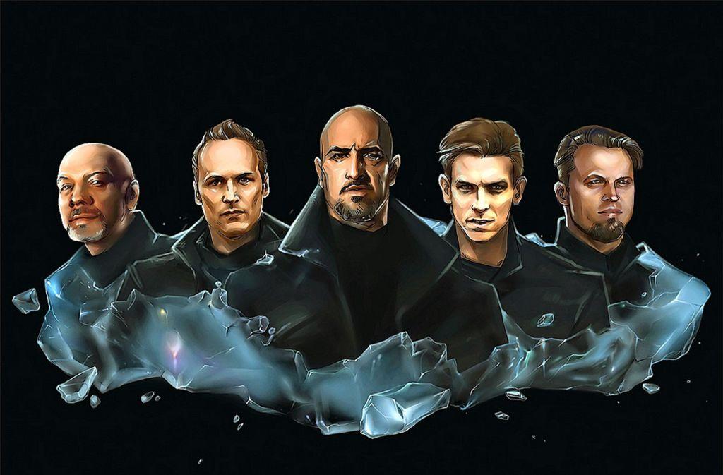 """Die Band um die beiden Gründungsmitglieder, den Sänger Alexander """"Alexx"""" Wesselsky (Mitte) und den Gitarristen Jochen """"Noel Pix"""" Seibert (zweiter von links) Foto: Eisbrecher"""