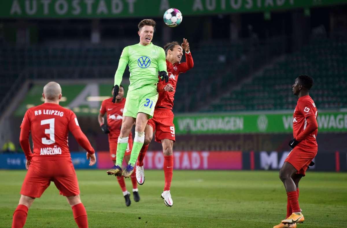 RBLeipzig verpasst am Samstag den vorübergehenden Sprung an die Spitze der Fußball-Bundesliga. Foto: AFP/FABIAN BIMMER