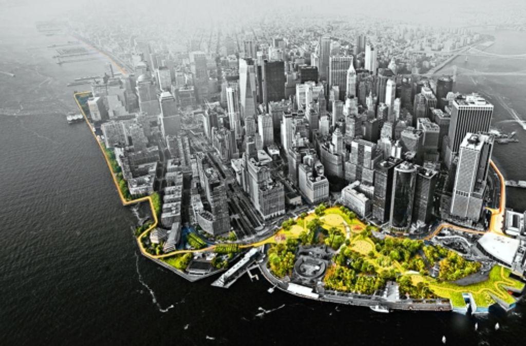 Die südliche Spitze  Manhattans: die grüngetönten Parkanlagen dienen bei Hochwasser als Überflutungsflächen. Foto: StZ