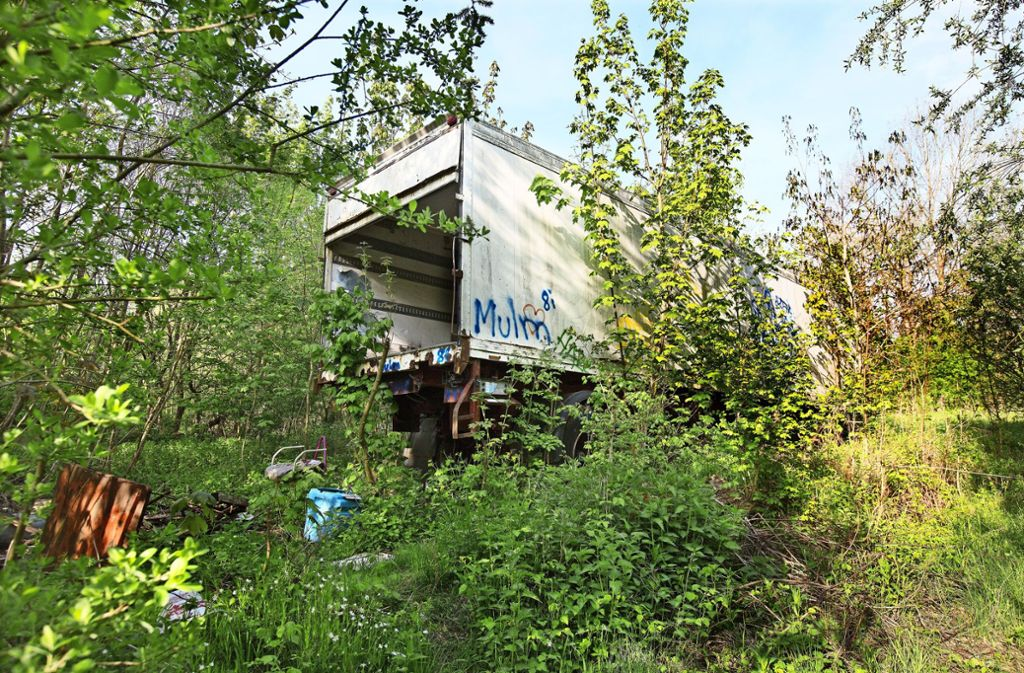Der seit  Jahren im Wald stehende Lastwagenanhänger ist das markanteste Müllexponat in dem ehemaligen Schieferbruch. Foto: Horst Rudel
