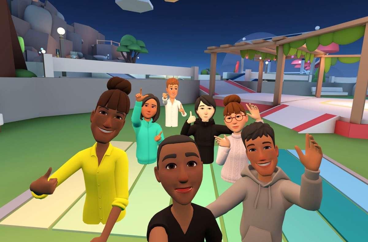So sieht das Projekt Horizon von Facebook derzeit aus: Dank 3-D-Brille, Mikrofon und Avatar sollen die Nutzer einander im virtuellen Raum begegnen. Foto: Facebook