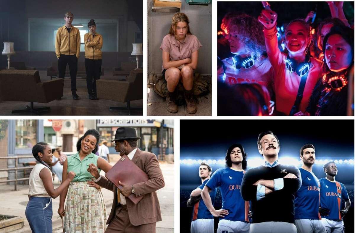 """Neuer Serienstoff: """"Alex Rider"""", """"Upright"""", """"Biohackers"""", """"Ted Lasso"""", """"Lovecraft Country"""" (von links oben im Uhrzeigersinn): Unsere Bildergalerie verrät, welche zehn Serien Sie im August im Blick haben sollten. Foto: Amazon, Universal, Netflix, Apple TV+, Sky"""