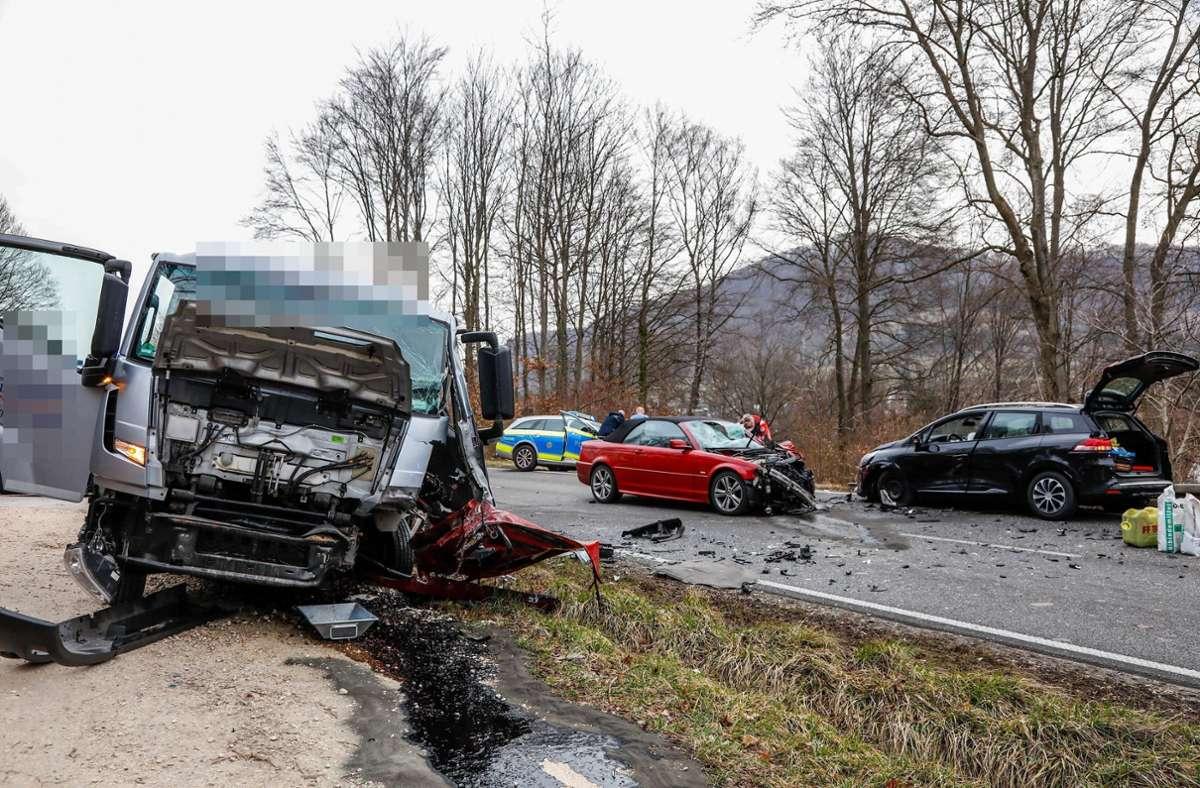 Der Unfall ereignete sich auf der B466 bei Bad Überkingen. Foto: 7aktuell.de/Christina Zambito