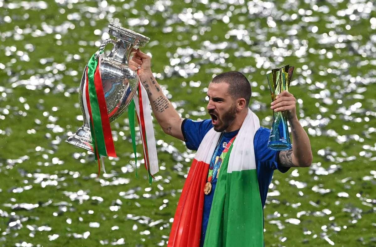 Leonardo Bonucci besorgte den Ausgleich für Italien. Foto: AFP/FACUNDO ARRIZABALAGA
