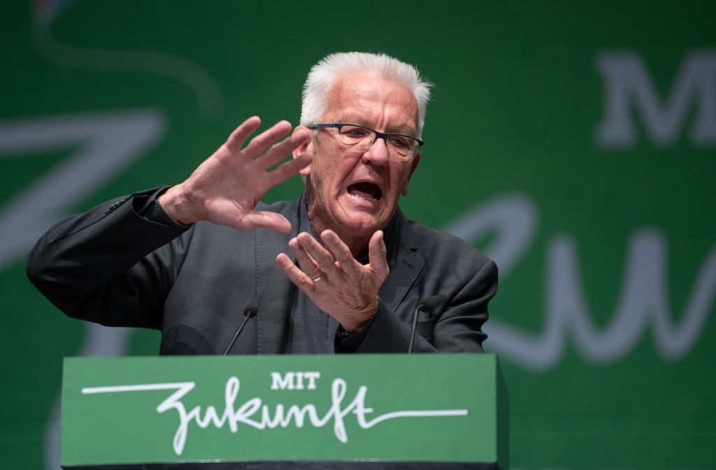 Winfried Kretschmann dominiert den Landesparteitag der Grünen. Foto: dpa/Sebastian Gollnow