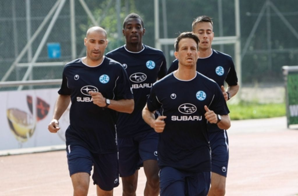 Der Stürmer Karim Rouani (ganz links) hat zuletzt in Thailand gespielt. Foto: Pressefoto Baumann