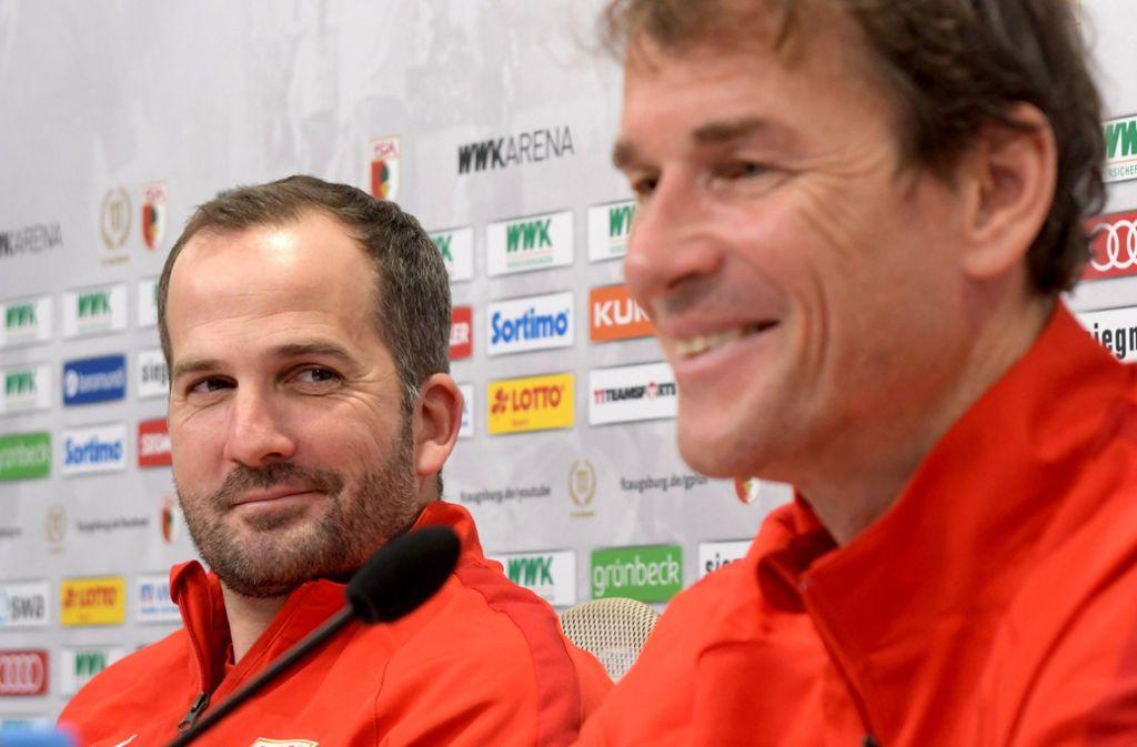 Manuel Baum (links) und Jens Lehmann sind nicht mehr Teil des Trainerteams des FC Augsburg. Foto: dpa