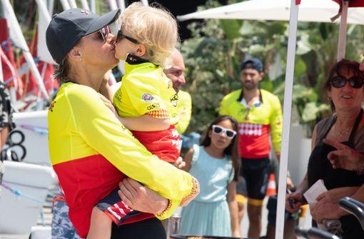 Küsschen für die sportliche Mama