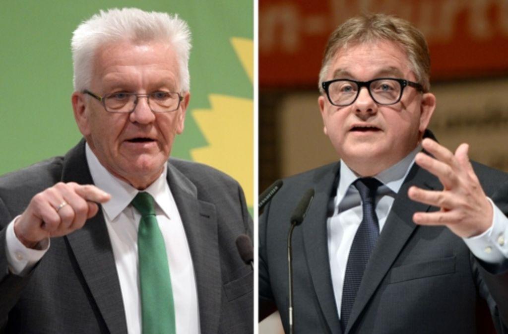 Ministerpräsident Winfried Kretschmann (Grüne, links) liegt in der Gunst der Wähler weiter deutlich vor seinem CDU-Herausforderer Guido Wolf. Foto: dpa