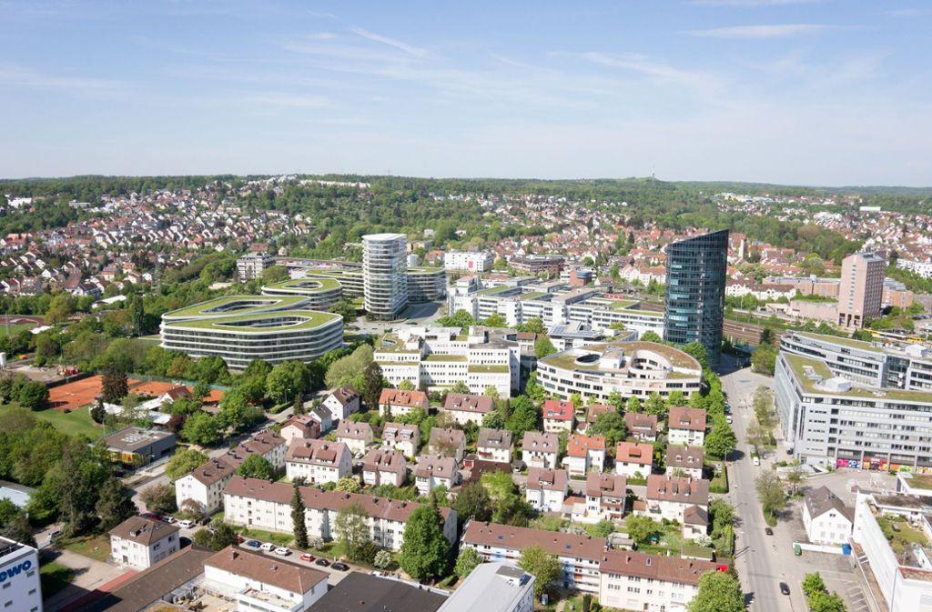 So soll sich der Allianz-Neubau in den Stuttgarter Synergiepark einfügen. Foto: Visualisierung: Allianz