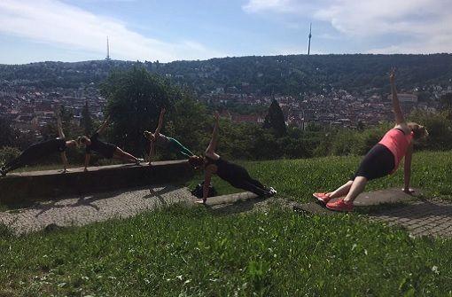 Outdoor-Sport mit Blick auf den Fernsehturm