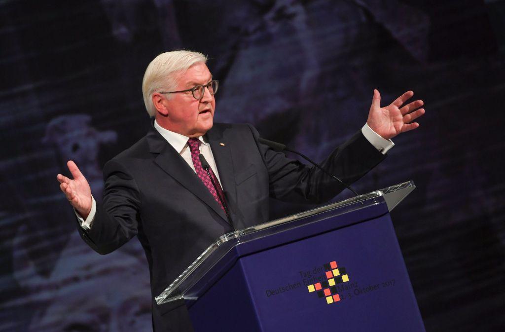 Bundespräsident Frank-Walter Steinmeier bei seiner Rede zum Tag der Deutschen Einheit. Foto: dpa