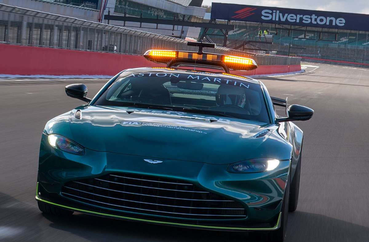 Grün hat Vorfahrt: Aston Martin ist als Rennstall in die Formel 1 zurückgekehrt und stellt in der Saison 2021 auch das Saftey Car. Foto: dpa/Max Earey