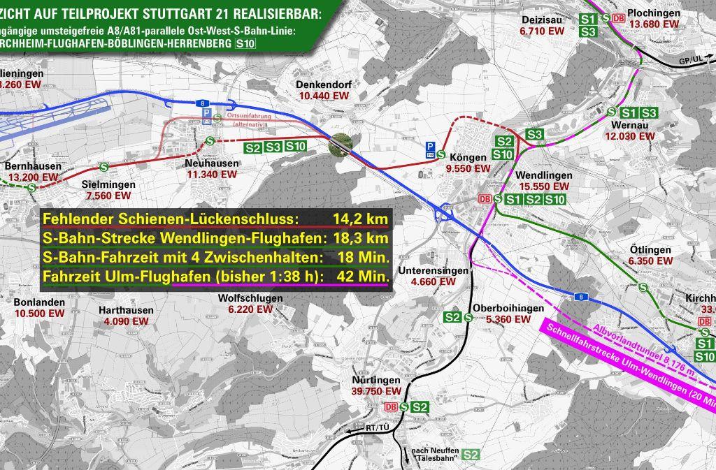 So wünscht sich die Schutzgemeinschaft Filder die Verlängerung der Gäubahn ins Neckartal. Dabei skizziert sie  auch  eine noch nicht existierenden S 10 nach Kirchheim. Foto: z/K. Gebhard