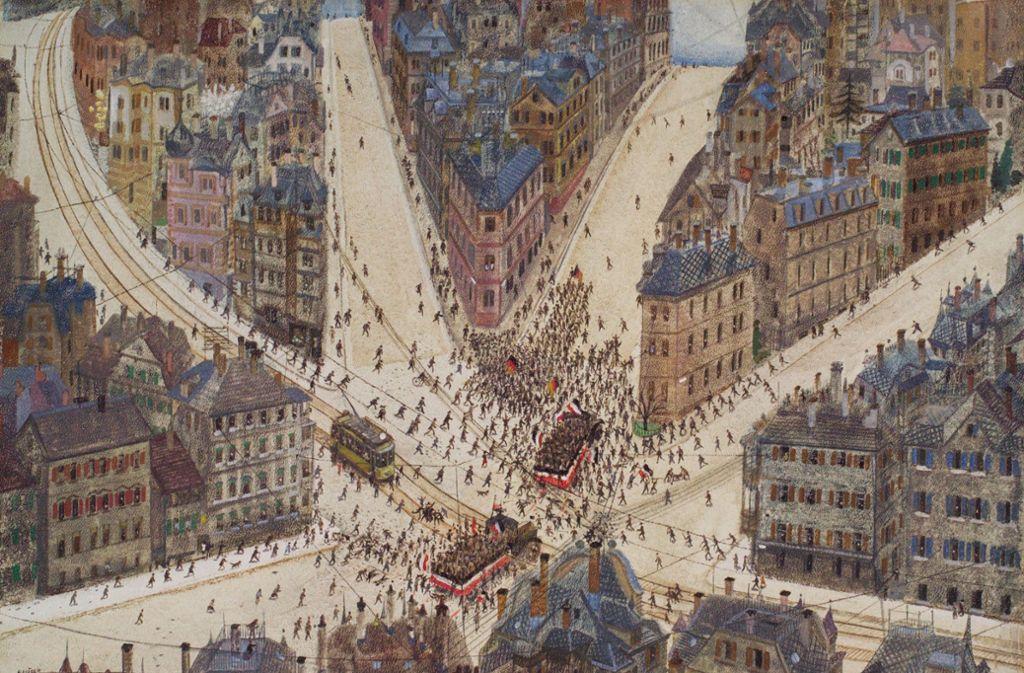 Straßenkampf in Stuttgart – Gemälde  von Reinhold Nägele aus dem Jahr 1925. Foto: Lichtgut/Leif Piechowski