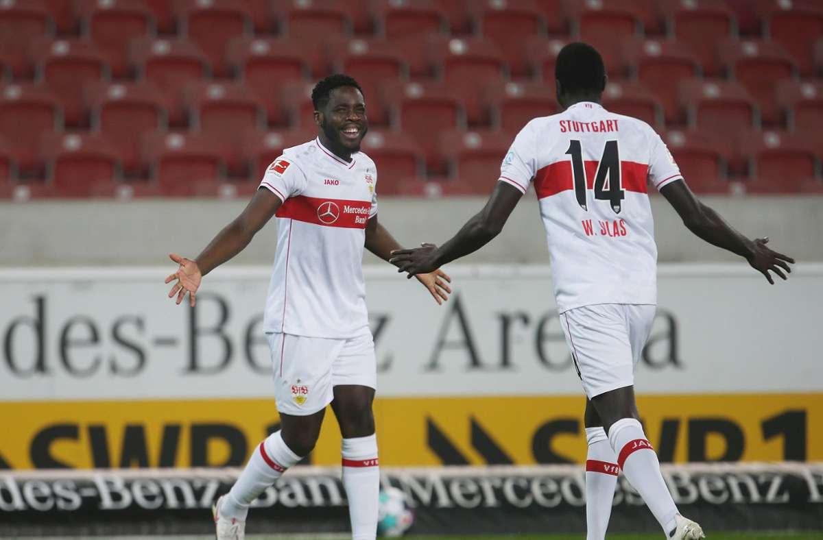 Gegen den 1. FC Köln erzielte Orel Mangala (links im Bild) eines der schnellsten Tore der Vereinsgeschichte. Foto: imago images/Avanti