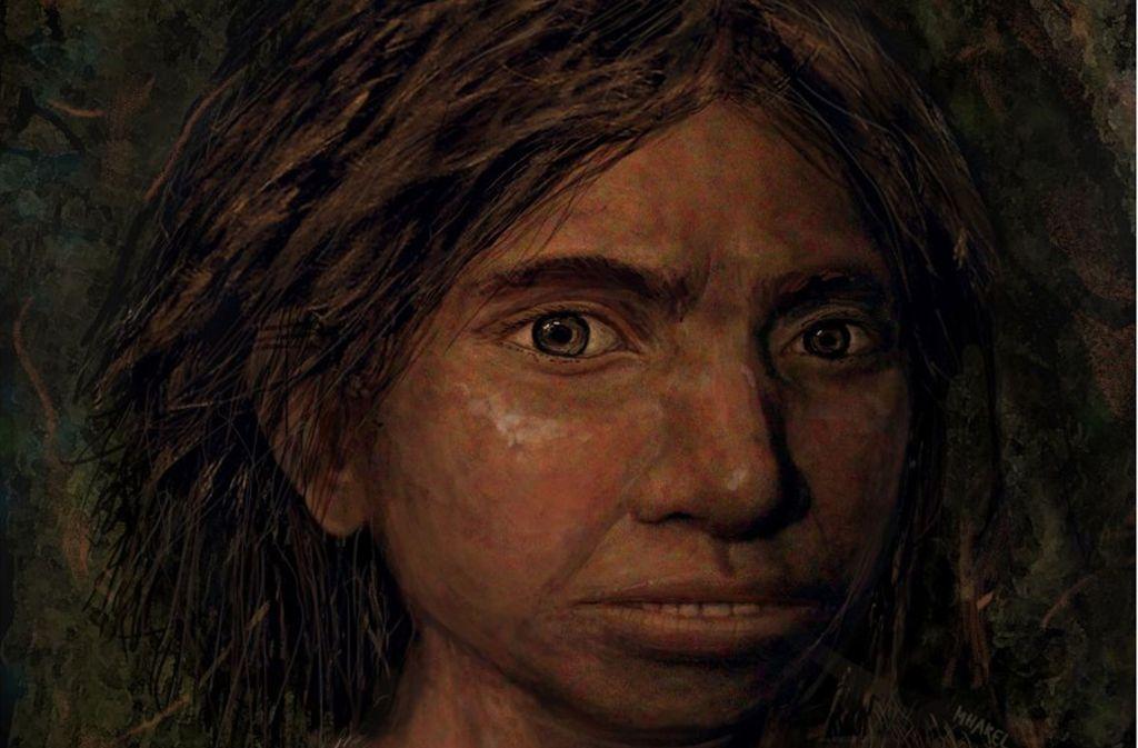 Porträt eines jugendlichen weiblichen Denisova-Menschen, das auf der Basis von einem Skelett-Profil und DNA-Merkmalen gemalt wurde. Foto: Maayan Harel/dpa