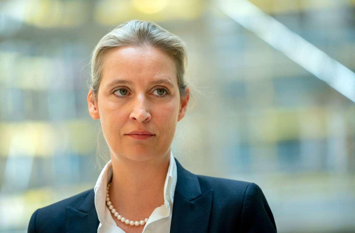 """Im ZDF-Morgenmagazin sagte Alice Weidel am Freitag , es sei für sie nicht akzeptabel, """"dass gesunde Ungeimpfte diskriminiert werden"""" (Archivbild). Foto: dpa/Kay Nietfeld"""