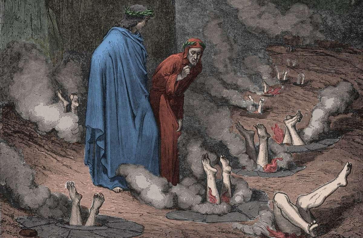Oh je, die Korrupten stecken ganz schön in der Tinte. Illustration zum Canto 19 des Inferno von Gustave Doré. Foto: imago/Leemage/imago stock&people