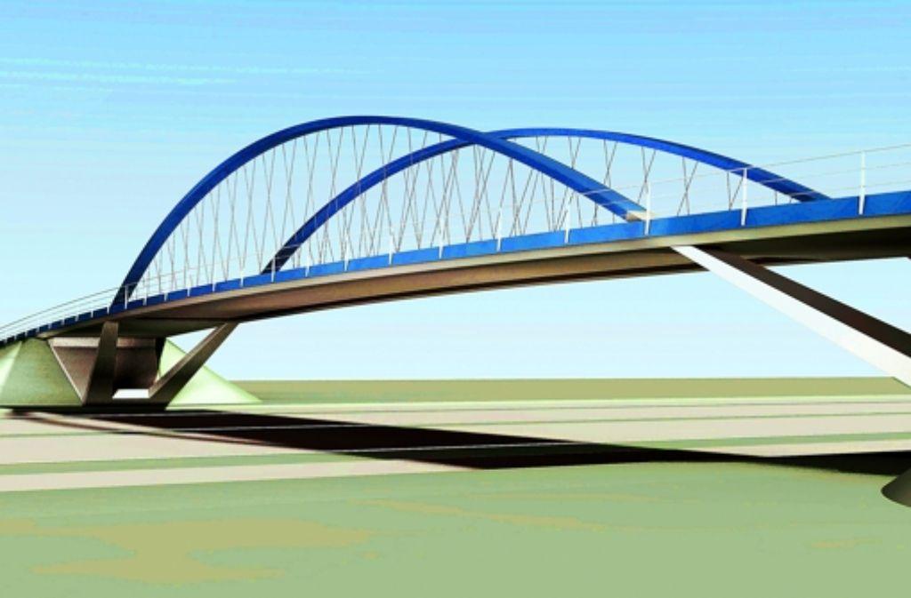 Auf dieser  filigranen Brücke sollen die Stadtbahnen von Ende 2018 auf dem Weg zum Flughafen die  Autobahn überqueren. Foto: Schlaich, Bergermann und Partner