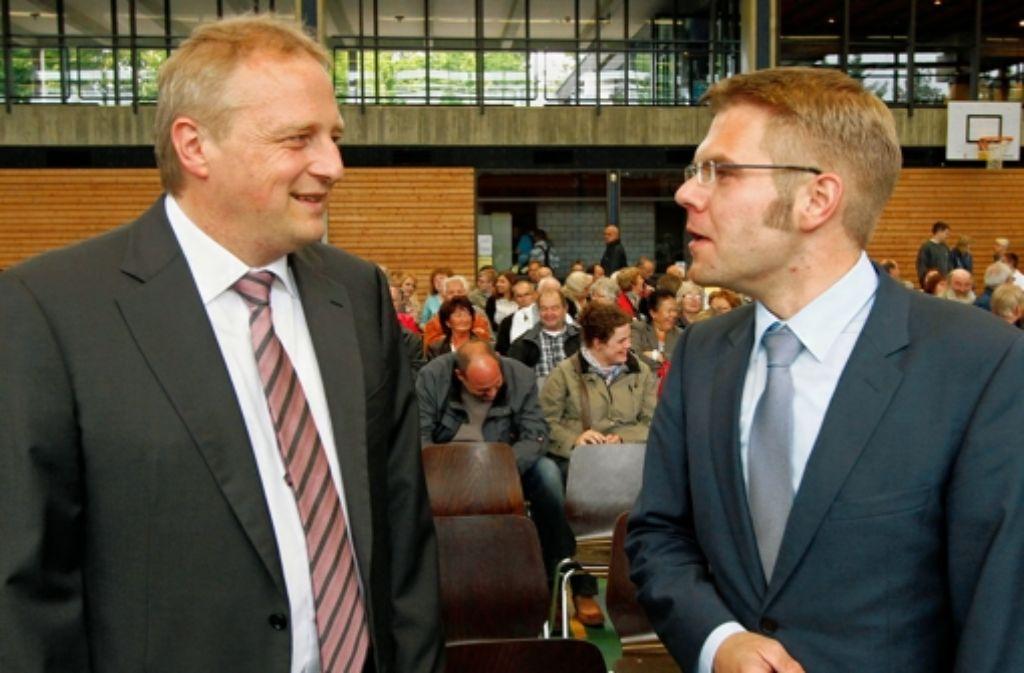 Martin Dietz (rechts) fordert den Amtsinhaber Wolfgang Lahl heraus. Foto: factum