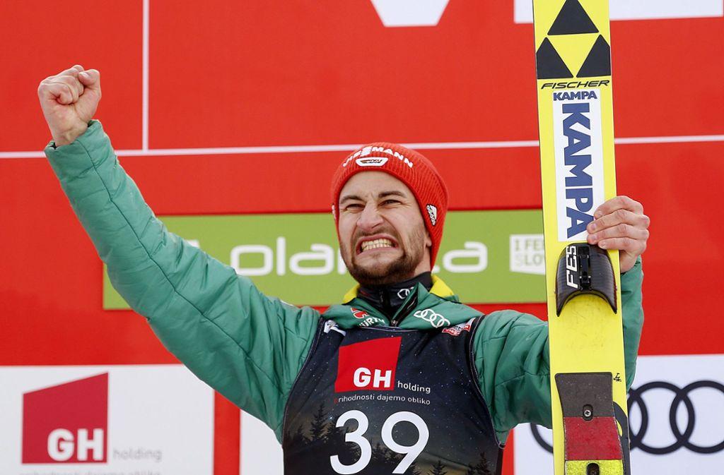 "Markus Eisenbichler freut sich ""so mega krass"". Foto: AP"