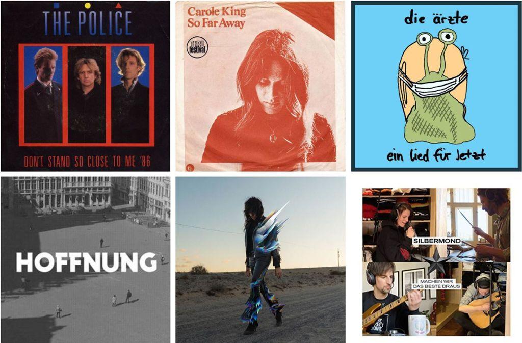 Der Soundtrack der Corona-Krise kommt von The Police, Carole King, den Ärzten, Silbermond, Nena und Tocotronic (von links oben im Uhrzeigersinn). Diese und weitere Corona-Pophits finden Sie in unserer Bildergalerie. Foto: Label