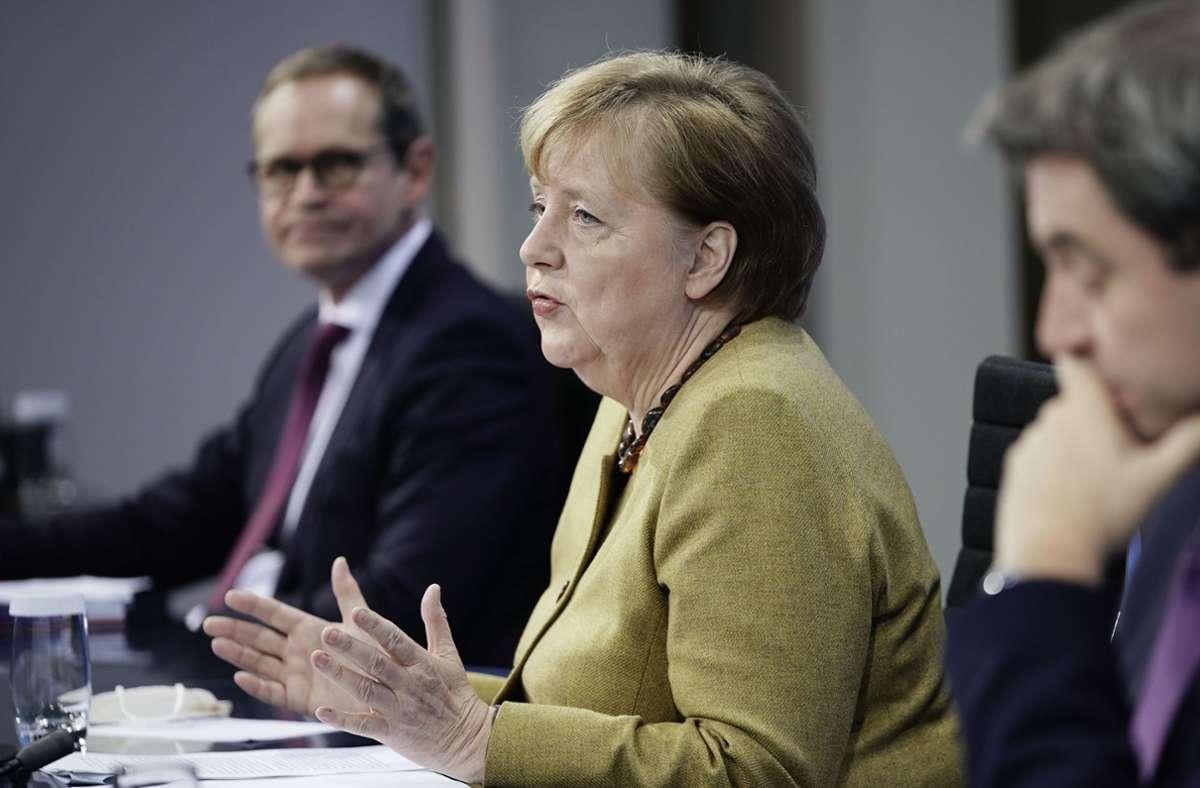 Bundeskanzlerin Angela Merkel (CDU) und die Regierungschefs der Länder einigten sich am Dienstag  auf eine Verlängerung der  Lockdown-Regeln. Foto: AFP/MICHAEL KAPPELER